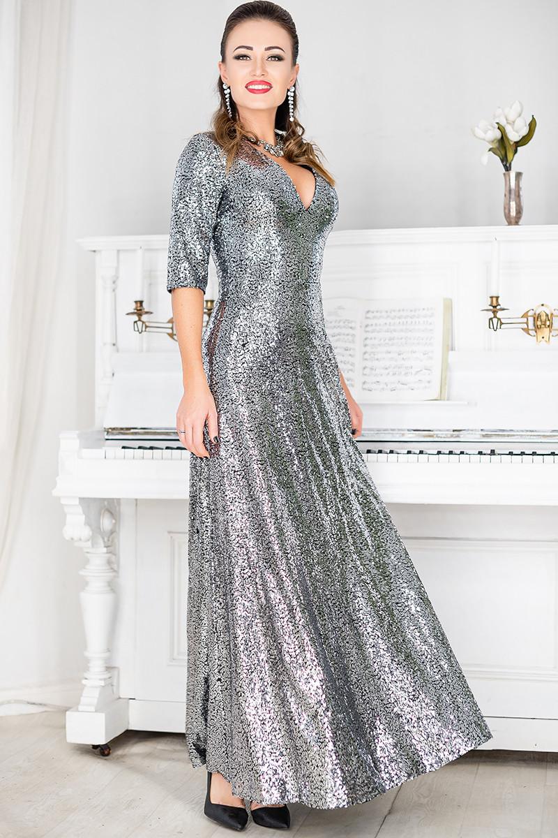 Сріблясте вечірнє плаття Люкс