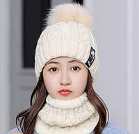 Женский вязаный комплект шапка и короткий шарф-хомут Bono 3650 beige