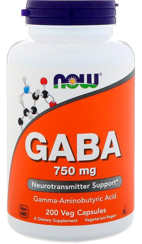 NOW Foods GABA 750 mg 200 Veg Capsules