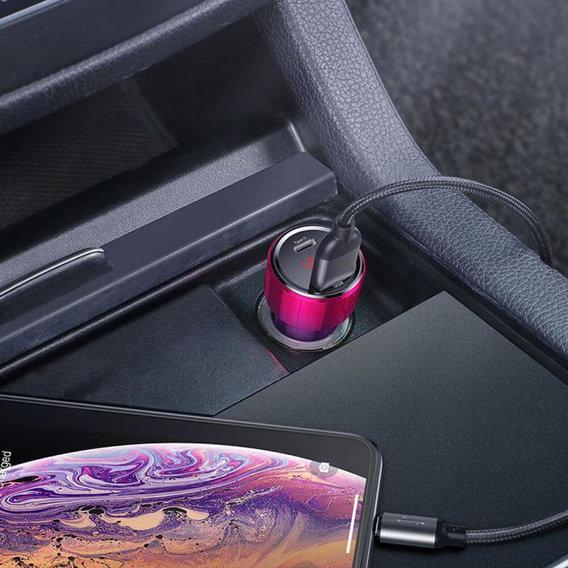 Зарядное Устройство для Авто от Прикуривателя USB+Type-C Baseus (CCMLC20C-09) 45W 6А Красный