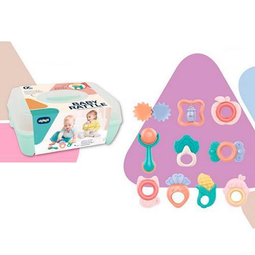 Детские игрушки погремушки набор 668-58 10 штук от 7 см в пластиковом ящике