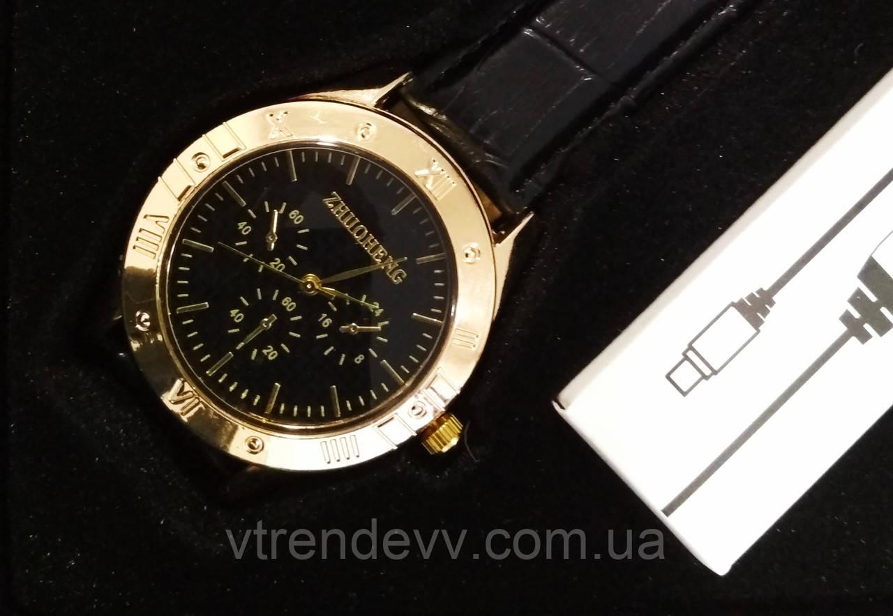 Зажигалка часы Zhuoheng Classic Lighter 2 в 1 Золото