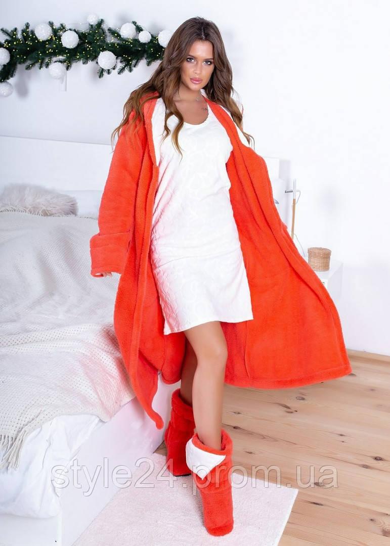Супер шикарний махровий жіночий халат з теплою ночнушкою .Р-ри 42-56
