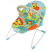 Детский шезлонг качалка / музыкальный шезлонг-баунсер Mastela 6875 - вибро, 2 положения спинки