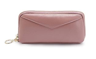 Кошелек с ремешком и нашивкой в форме конверта / натуральная кожа #10218 Розовый
