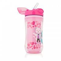 Чашка-термос с твердым носиком, цвет розовый, 12+ месяцев, 300 мл