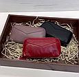 Кошелек с ремешком и нашивкой в форме конверта / натуральная кожа #10218 Пудровый, фото 10