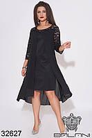 Платье чёрный миди с гипюром и шифоном (размеры от 50 до 64)