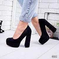 Женские замшевые туфли на высоком удобном каблуке и платформе ОВ 8032, фото 1