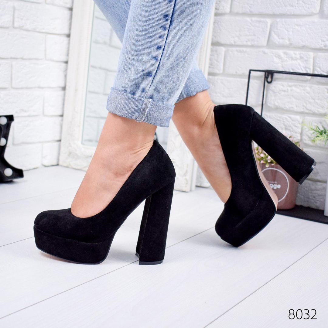Женские замшевые туфли на высоком удобном каблуке и платформе ОВ 8032