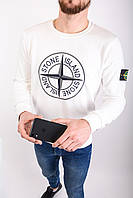 Мужской свитшот STONE ISLAND 10006 белый (реплика), фото 1