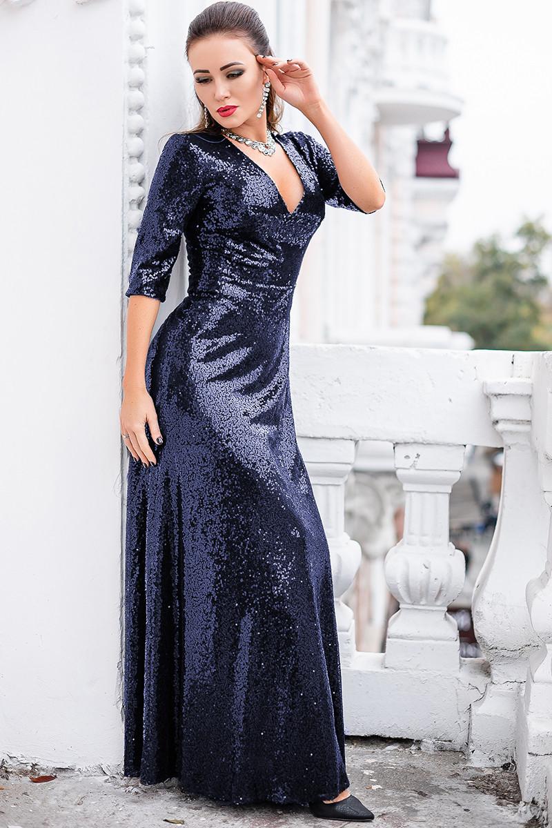 Шикарне вечірнє плаття Люкс темно - синє
