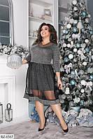 Красивое батальное платье ангора под сеткой арт 502