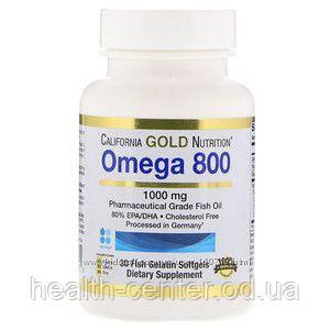 Омега 800  (омега-3/80%) 30 капс для сердца сосудов зрения памяти  California Gold Nutrition USA