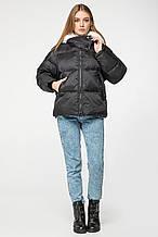 Женский зимний короткий пуховик с капюшоном и мехом CLASNA CW19D812CQ черный