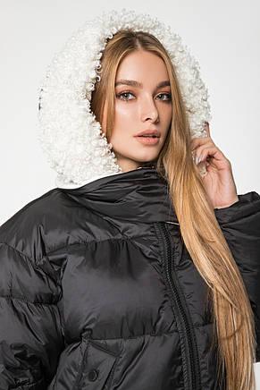 Женский зимний короткий пуховик с капюшоном и мехом CLASNA CW19D812CQ черный, фото 2