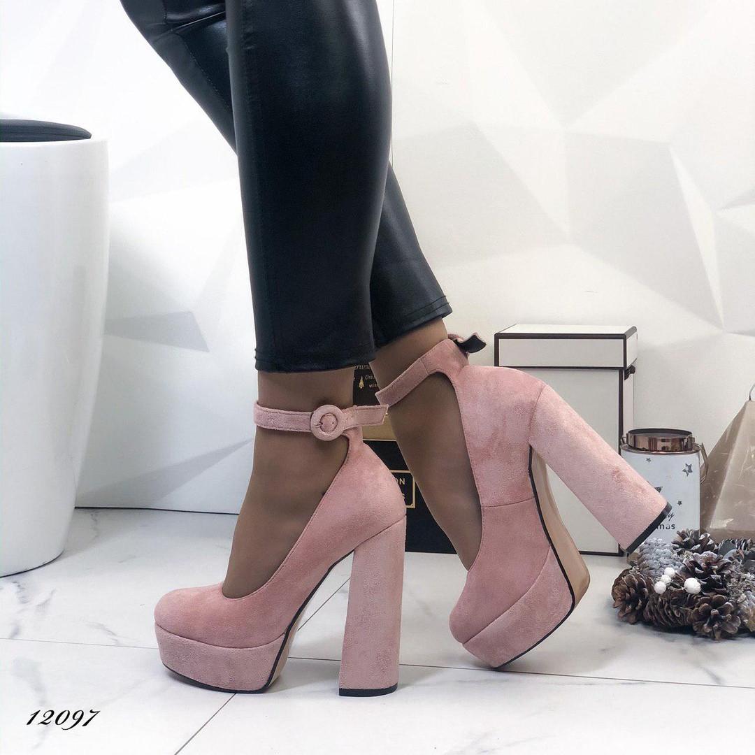 Женские замшевые туфли на каблуке и платформе с ремешком, ОВ 12097