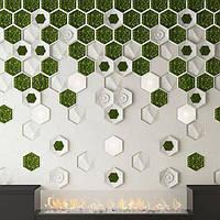 Декоративные гипсовые 3D панели Gipster с мхом - Gipster Green, фото 1