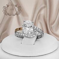 """Серебряное кольцо с золотыми пластинами """"335"""", фото 1"""