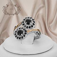 """Срібне кільце з золотими вставками і чорними фіанітами """"332"""", фото 1"""