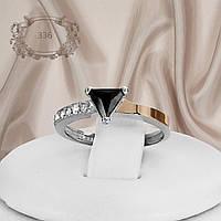 """Серебряное кольцо с золотыми пластинами и черными фианитами """"336"""", фото 1"""