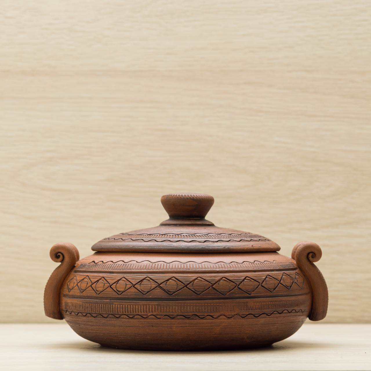 Колбасник глиняный 0,5л резка Орнамент, в/п глазурь