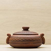 Колбасник глиняный 0,5л резка Орнамент, в/п глазурь, фото 1