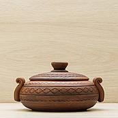Ковбасник глиняний 0,5 л різання Орнамент, в/п глазур