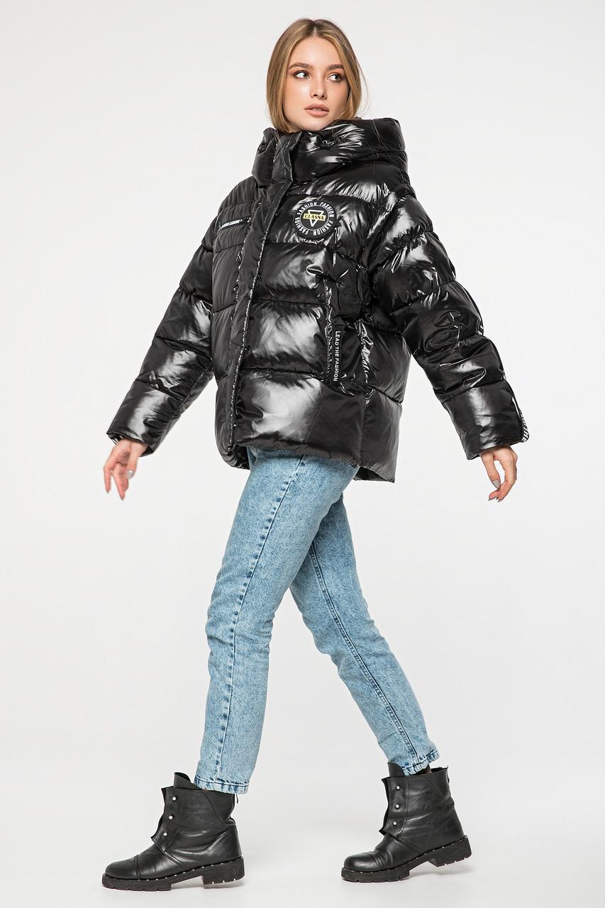 Женский зимний короткий пуховик-жилетка с капюшоном CLASNA CW19D125ACW черный