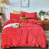Комплект постельного белья велюровое с рисунком евро размера