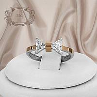 """Кольцо серебряное с золотыми пластинами """"351"""", фото 1"""