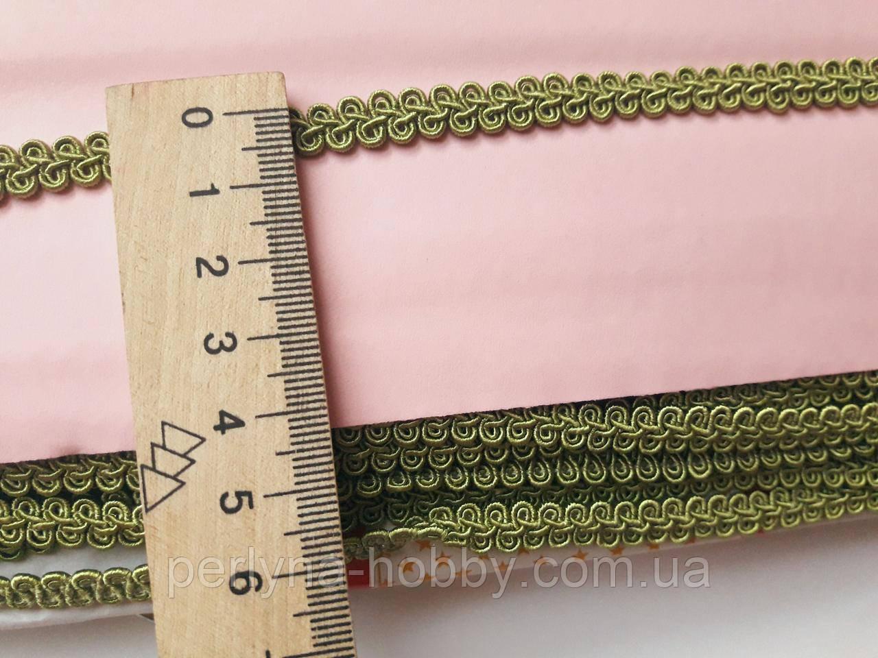 Тасьма  декоративна шанель вузька 6мм оливкова