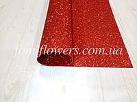 Глиттерный фоамиран, двухсторонний 50х50 см, красный.