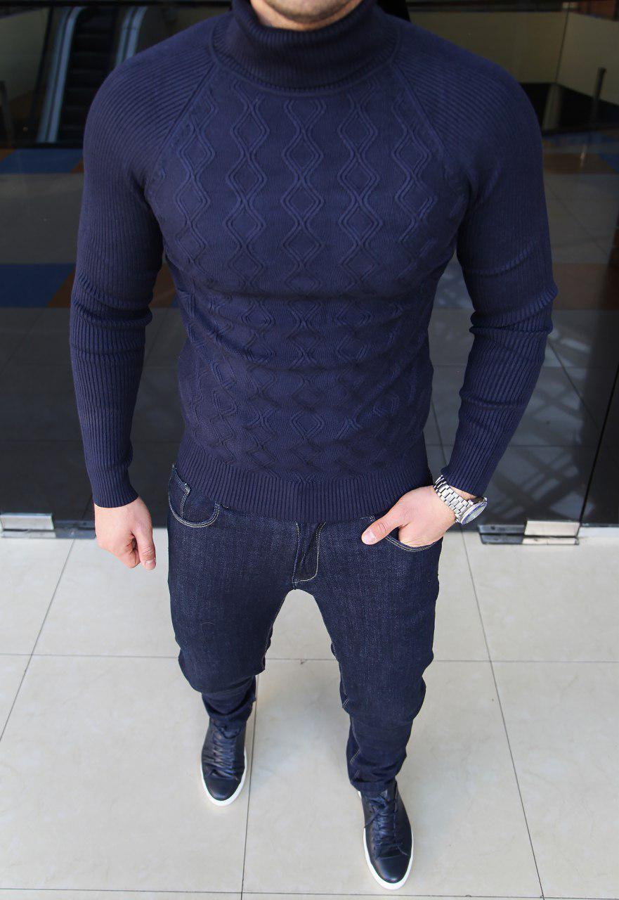 Мужской теплый гольф H0102 темно-синий