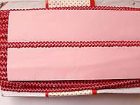 Тасьма  декоративна шанель вузька 6мм, червона з рожевим.