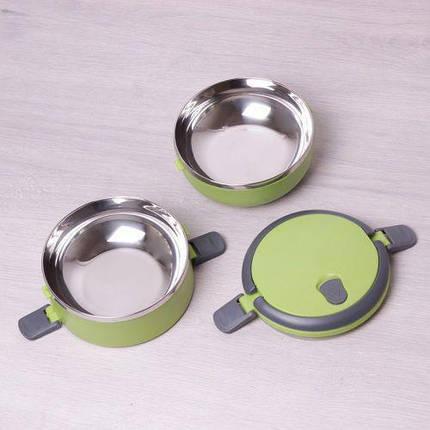 Харчовий термос для їжі 2 рівня по 700 мл Empire ЇМ 1515 Green, фото 2