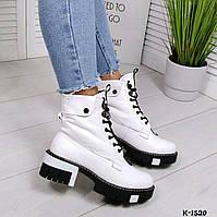 Ботинки зимние со шнуровкой, нат.кожа белый