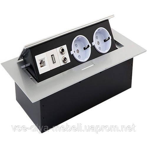 Блок розеток прячущийся алюм. (2 евророз.+USB+ауд+Inter) (AE-PB02GS-53)(Е.)