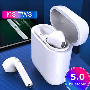 Беспроводные Bluetooth наушники c power bank боксом TWS i9S белые, фото 2