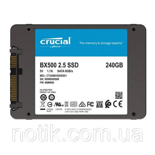 """Твердотельный накопитель 240Gb, Crucial BX500, SATA3, 2.5"""", 3D TLC, 540/500 MB/s (CT240BX500SSD1)"""