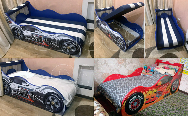 Кровать машина ТАЧКИ ШОК со встроенным матрасом, мягким изголовьем и подушкой купить недорого киев
