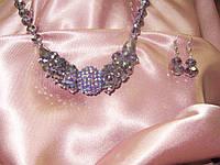 Колье и серьги бижутерия сиреневые SVAROVSKI, 54 см,кристаллы чешское стекло,Арт 432,