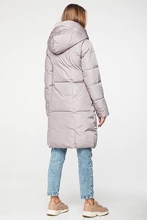 Женский зимний длинный пуховик с капюшоном CLASNA CW19D9398CW _#Т622 серо-бежевый, фото 2