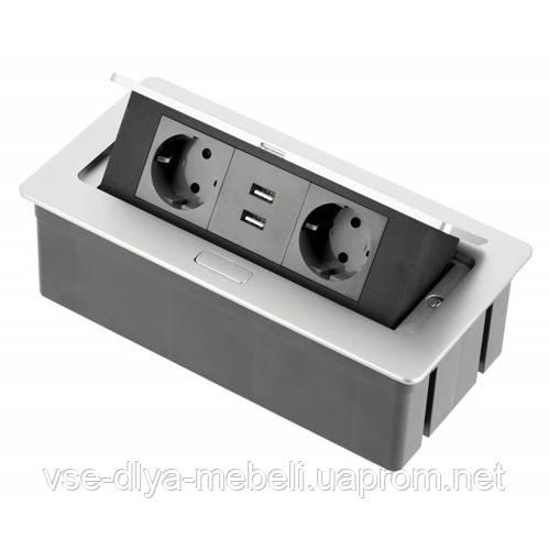 Блок розеток прячущийся алюминий SOFT с проводом 1,5м  (2 евророз.+USB) (AE-PBSUC2GS-53)
