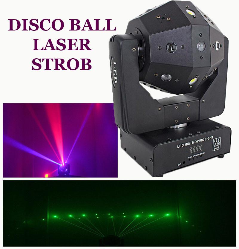 Световой диско прибор шар с лазером и стробоскопом Moving head 3в1 RGBW