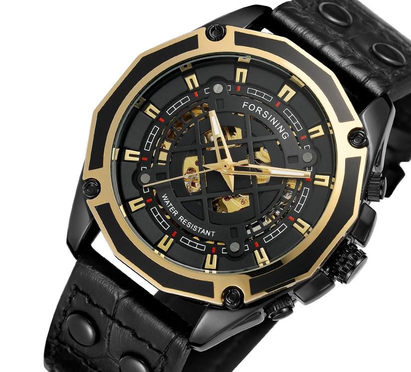 Механические часы с автоподзаводом Forsining, мужские наручные часы с кожаным ремешком форсининг скелетон