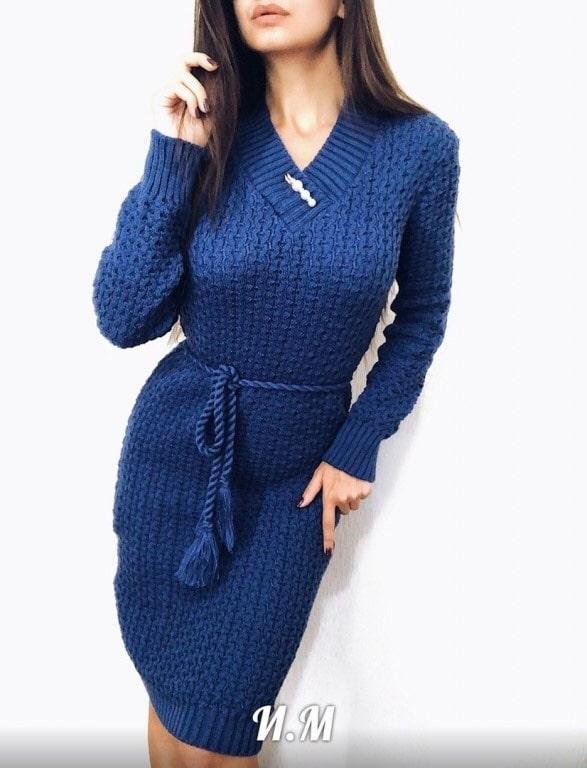 Однотонное стильное осеннее платье р 44-50 Джинсовый