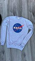 Мужской утепленный свитшот серый NASA logo (копия)