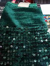 Ткань Пайетка На Бархате (зеленый-бутылка)