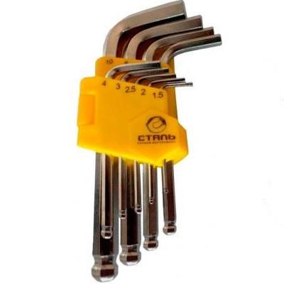 Набор Г-образных ключей шарообр. удлиненные НЕХ  9 шт. СТАЛЬ 48103